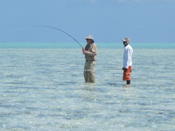 Bonefishing guide Darin Bain on the fishing flats of the Turks and Caicos Islands