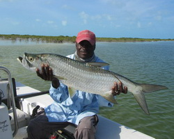 Tarpon on the fly while flyfishing in the Turks and Caicos Islands