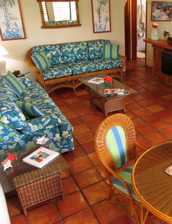 Fishing lodging at Harbour Club Turks and Caicos with dining table and seating for four with a fully equipped kitchen
