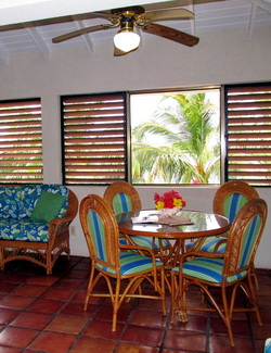 Dining nook with views over the lake at Harbour Club Villas fishing accommodations in Turks and Caicos Islands